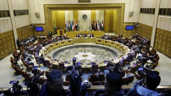 An Arab League meeting. The agreement came after warplanes from Saudi Arabia and Arab allies struck Houthi targets (Reuters)