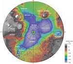 Utopia Planitia - largest confirmed impact basin on Mars and in the Solar System. 2100 miles in diameter.