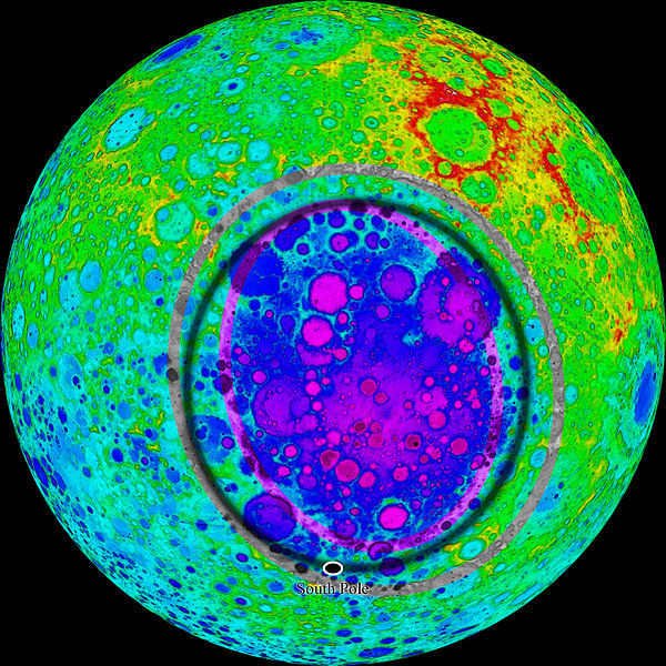 South Pole–Aitken basin on the far side of the moon. 1600 miles in diameter and one of the largest in the solar system.