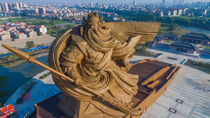 Recent Giant war god of China revealed. http://www.boredpanda.com/giant-war-god-statue-general-guan-yu-sculpture-china/